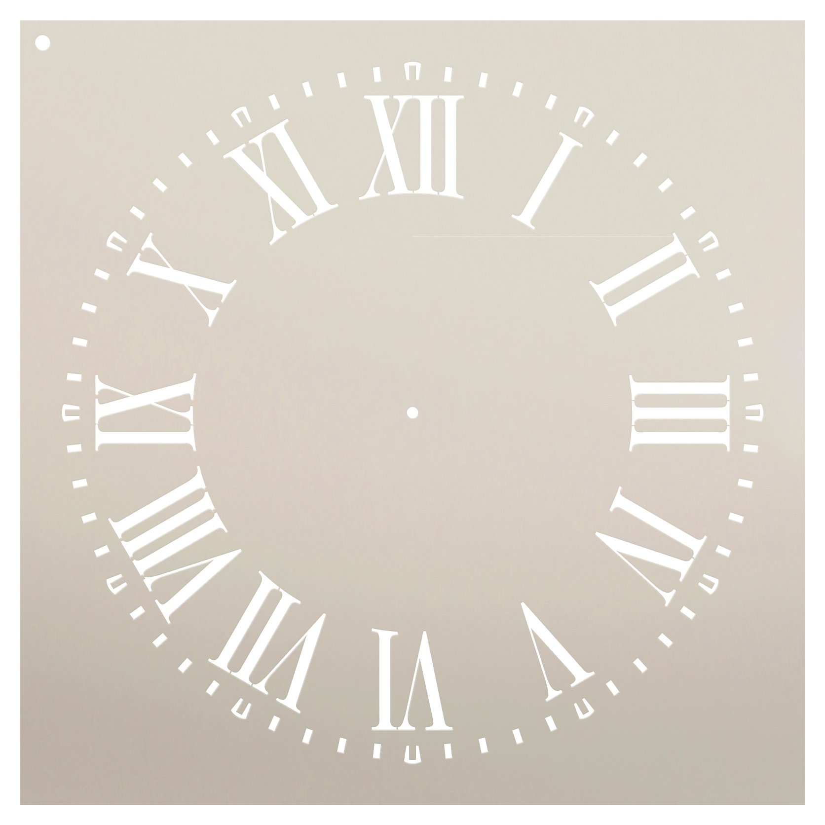 Farmhouse Clock Face Stencil by StudioR12 | Roman Numerals Clock Art - Reusable Mylar Template | Painting, Chalk, Mixed Media | DIY Decor - STCL2336 - Select Size (24'' Diameter)