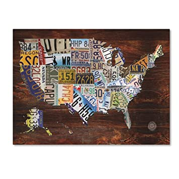 USA License Plate Map on Wood by Masters Fine Art, 24x32-Inch Canvas Wall  Art