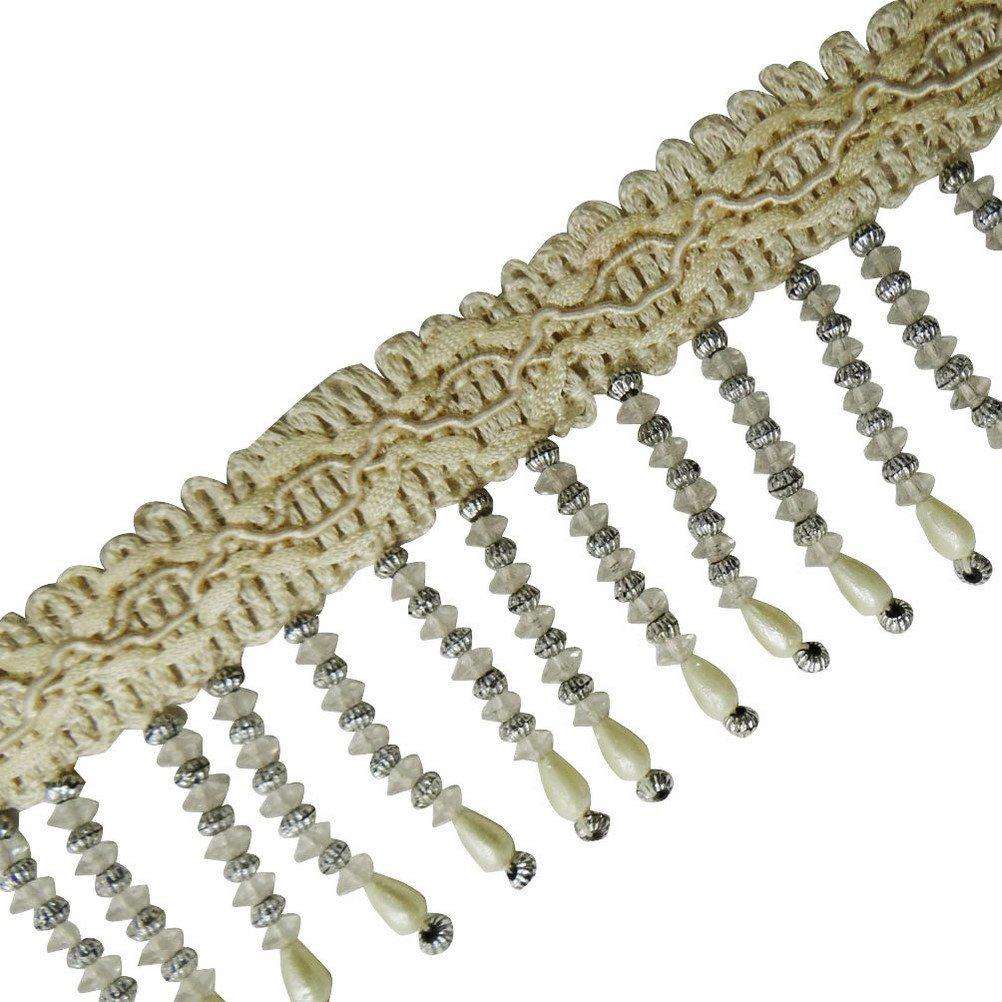 La cinta con flecos con cuentas ajuste poner crema de la perla hecha a mano de piedras de coser Frontera del cordón 1 Yd Knitwit