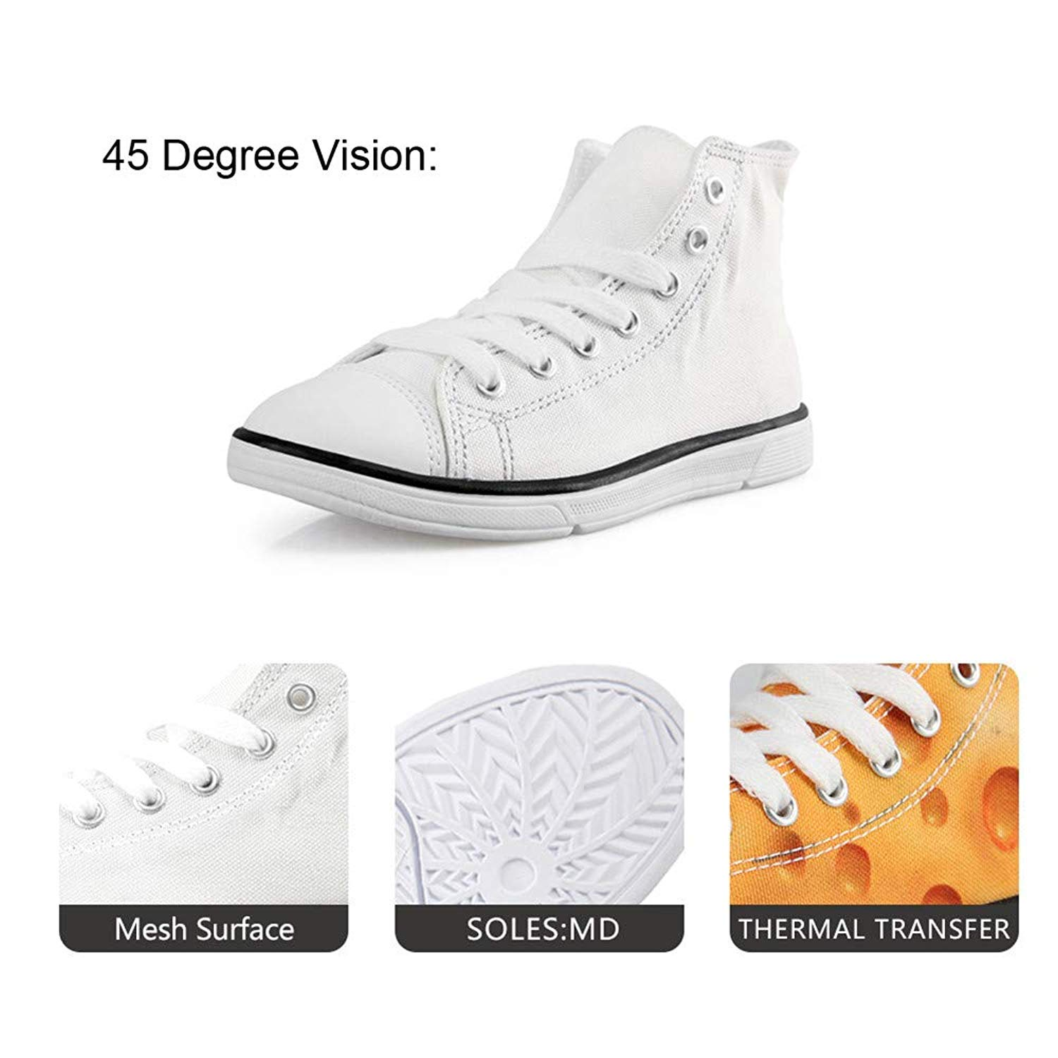 Canvas High Top Sneaker Casual Skate Shoe Boys Girls Wish of Fried Chicken Nuggets