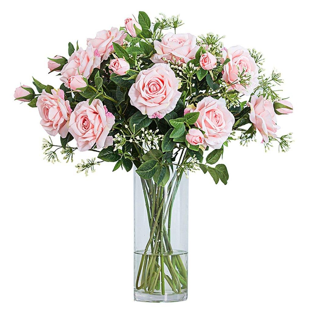 GWM 人工花、偽リアルタッチの花シルクプラスチック、バラ、ホームガーデンパーティーウェディングデコレーション、ピンク B07FQR6NK4