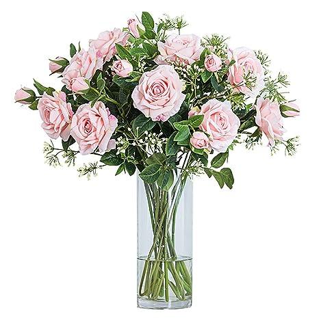 ZML Flores Artificiales, Falso Toque Real Flores de Seda de plástico, Rosas, para