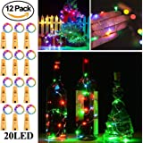 Wine Bottle Lights with Cork,RcStarry(TM) 7Ft/2M 20 LEDs Cork Lights for Bottle 12 Pack,Copper Wire Bottle Lights for DIY, Party, Decor, Christmas, Halloween,Wedding(Multicolor)