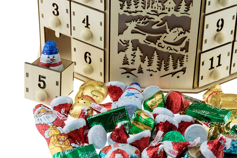 Village sur Pont avec LED//Fonctionne /à Piles 02 avec 24 tiroirs Calendrier de lavent Traditionnel en Bois Clever Creations d/écoration de f/êtes//No/ël