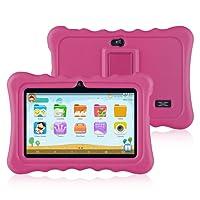Ainol Q88 - Niños Tablet Android 7.1 OS Pantalla de 7 pulgadas 1G RAM +16 GB ROM Peso ligero Portable Kid-Proof Funda de silicona a prueba de golpes Kick Stand Disponible con Niños Educación Entretenimiento - Rosa Rojo