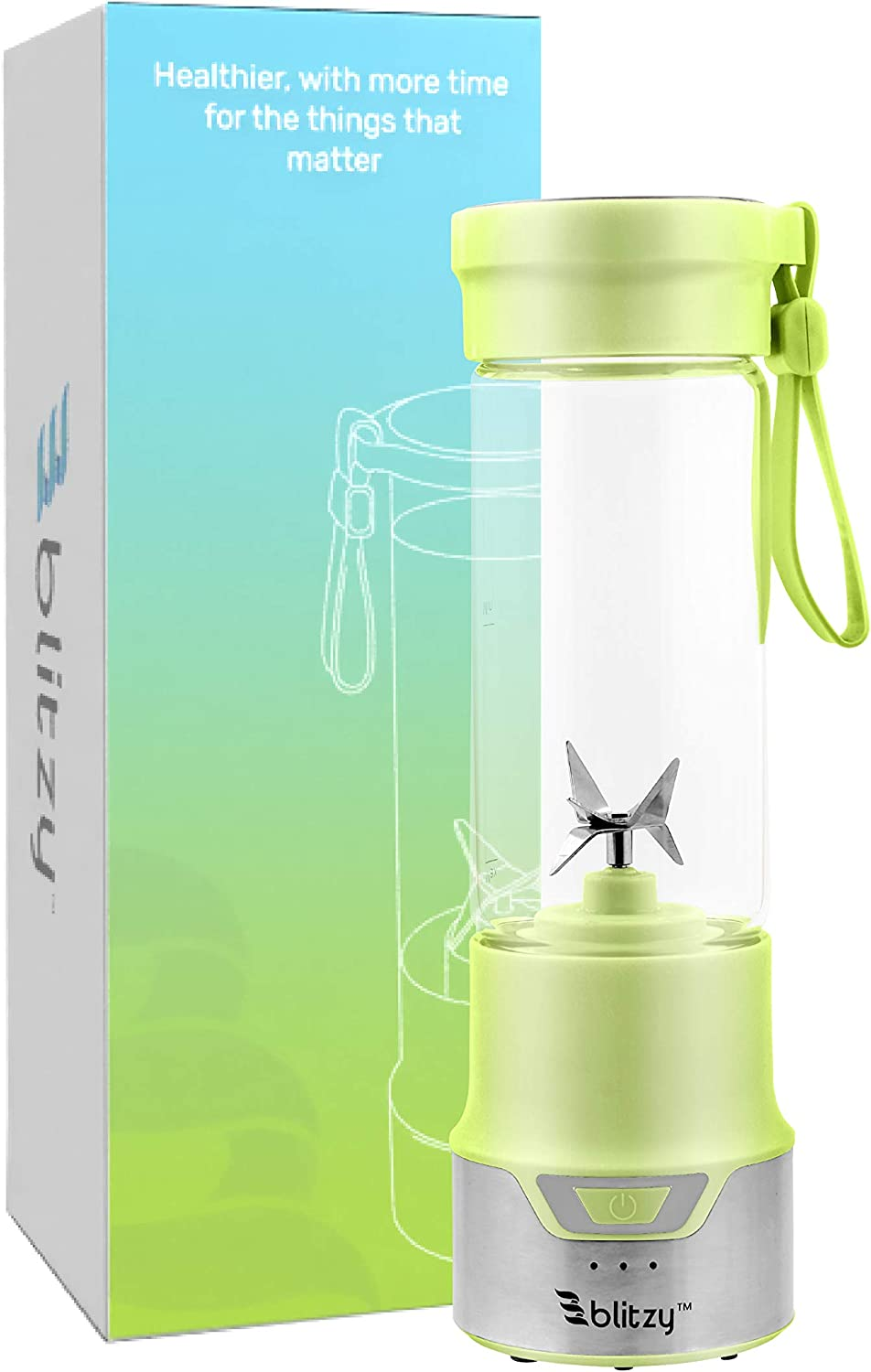 Blitzy Portable Blender USB Rechargeable Electric Portable Blender, 16oz Stainless Steel and Glass Blender Green