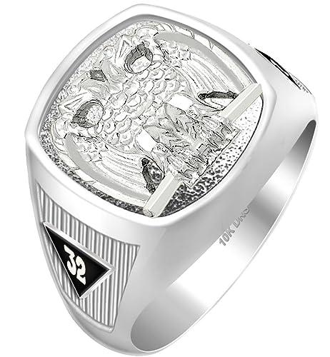 10k 14k White or Yellow Gold Scottish Rite 32nd Degree Masonic Solid Back Ring