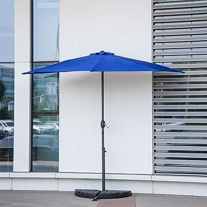 Kinbor Patio Table Umbrella Half Round 5 Ribs 10FT Outdoor Patio Umbrella  Wall Window Corner Umbrella