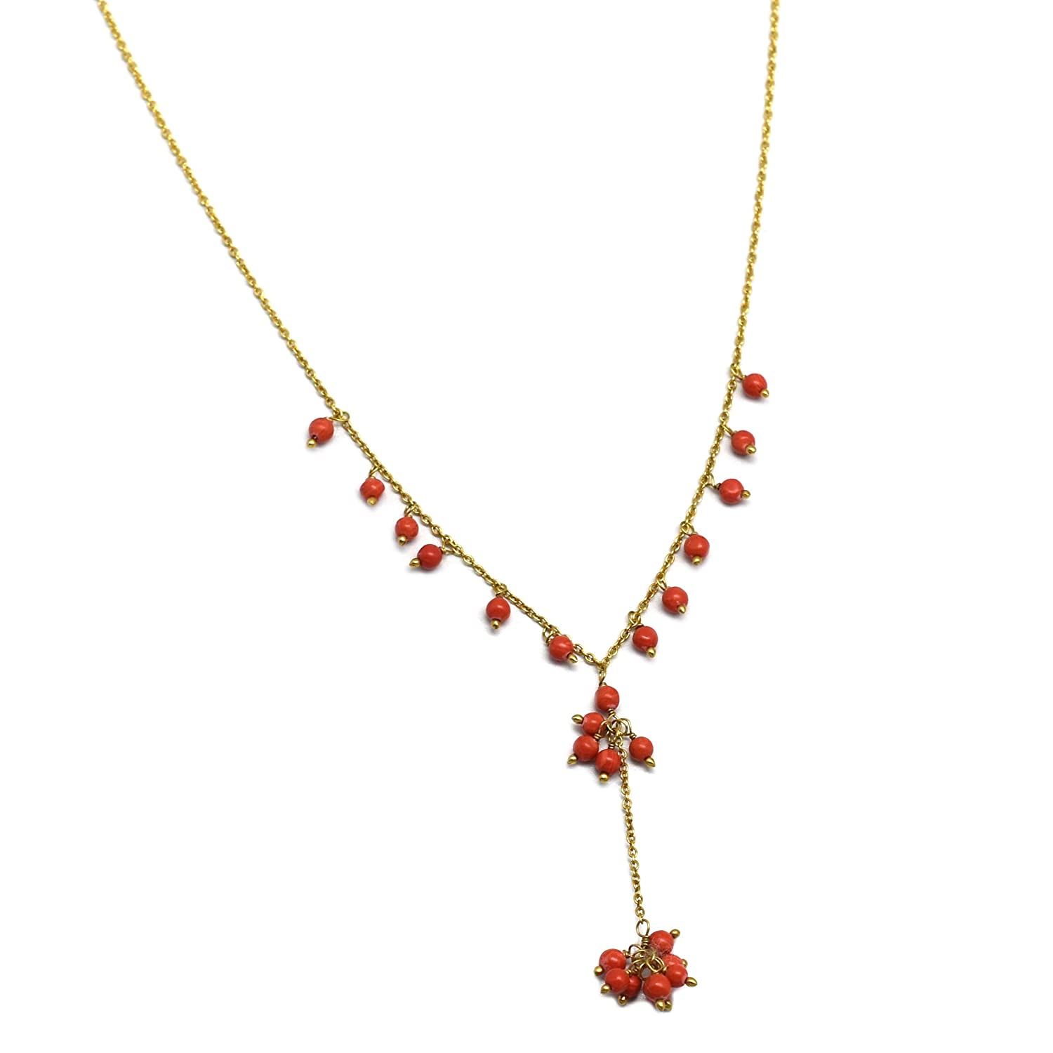 Collection The Chain Necklaces 22k Yellow Gold Plated Coral Beads Fashion Jewelry Chain Necklaces Gifts for her V