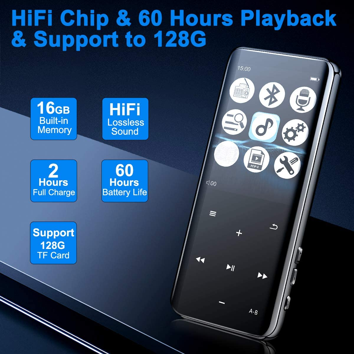 Mansso MP3 Player with Bluetooth 4.2-16GB Music MP3 Player Portable HiFi Lossless Sound Music Player with 2.4'' Curved Screen, FM Radio Voice Recorder E Book,Earphone & Armband Expandable up to 128: Home Audio & Theater