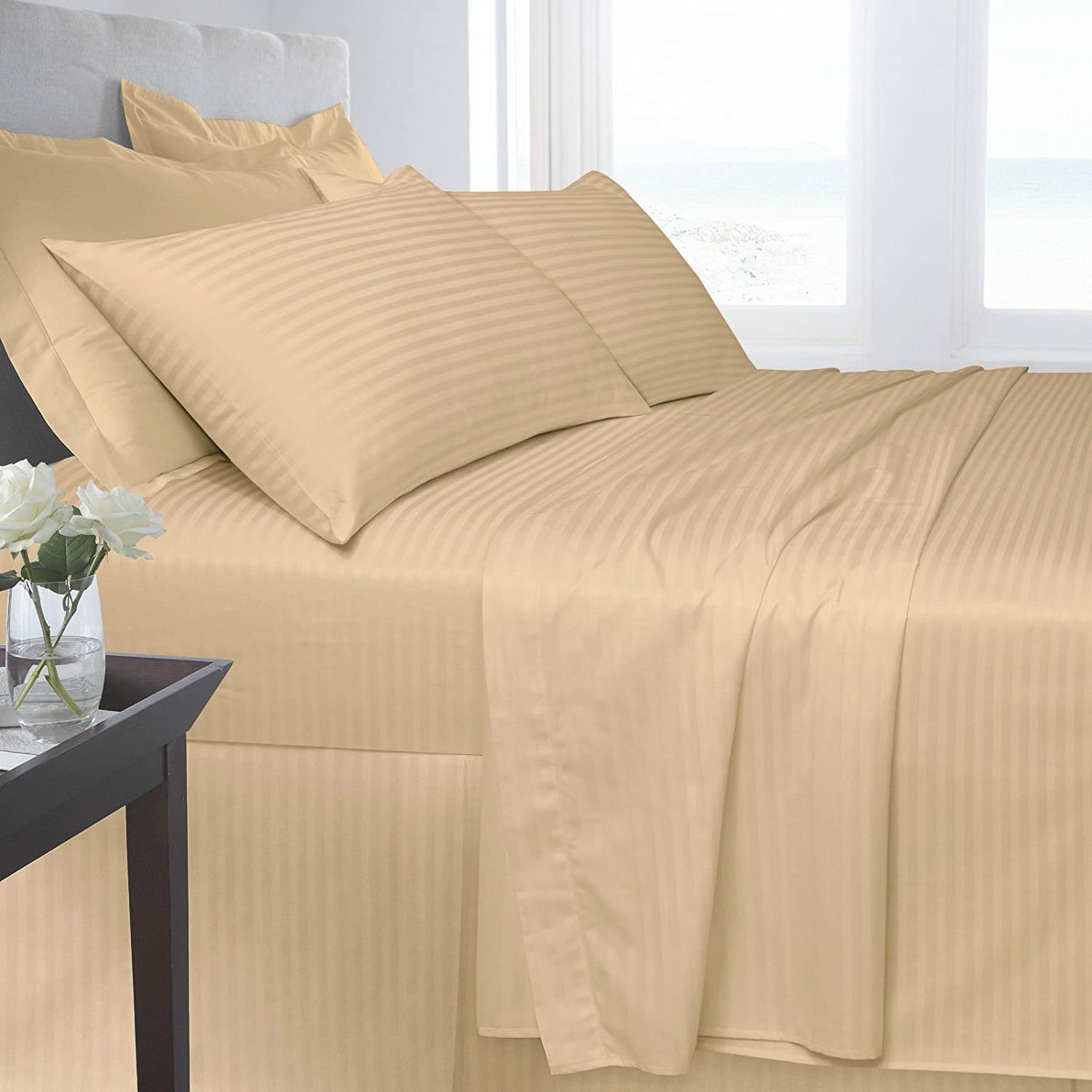 Egyptian Cotton Fitted Bed Sheet Double Size Bed New 250 Tread Count Satin Stripe High Quality Luxury Bedding Aqua