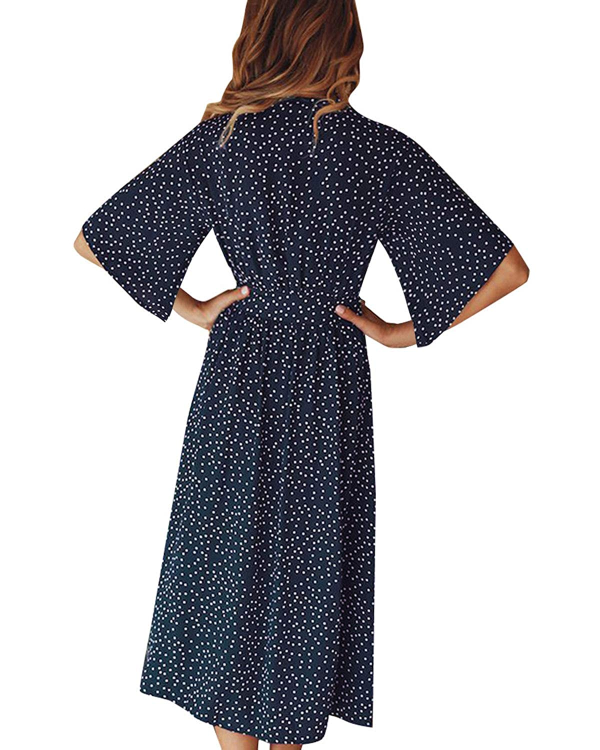 9c4f904d0a94 SOLERSUN Women's V Neck Polka Dot Loose Swing Casual Summer Tie Front Midi  Dress at Amazon Women's Clothing store:
