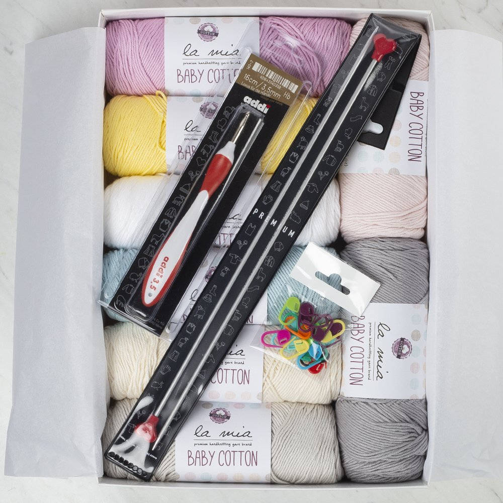 La Mia Baby Cotton Gift Set - Tulip, 8 Skeins of Assorted Colors La Mia Baby Cotton Yarn, 50% Cotton 50% Acrylic, 100 g (3.5 oz) / 200 m (218 yds), Yarn Weight: 4 : Worsted-Aran - Tulip