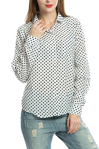 La Mujer Casual De Manga Larga Botón Clásico Lunares Ol Oficina Blusa Camisa Top
