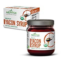 100% Pure Yacon Syrup USDA Organic Natural Sweetener Rich in Antioxidants, Vitamins, Prebiotics | Low Glycemic Index, Low Calorie, Boosts Metabolism | 8 Oz. Safe Glass Jar + Free E-Cookbook