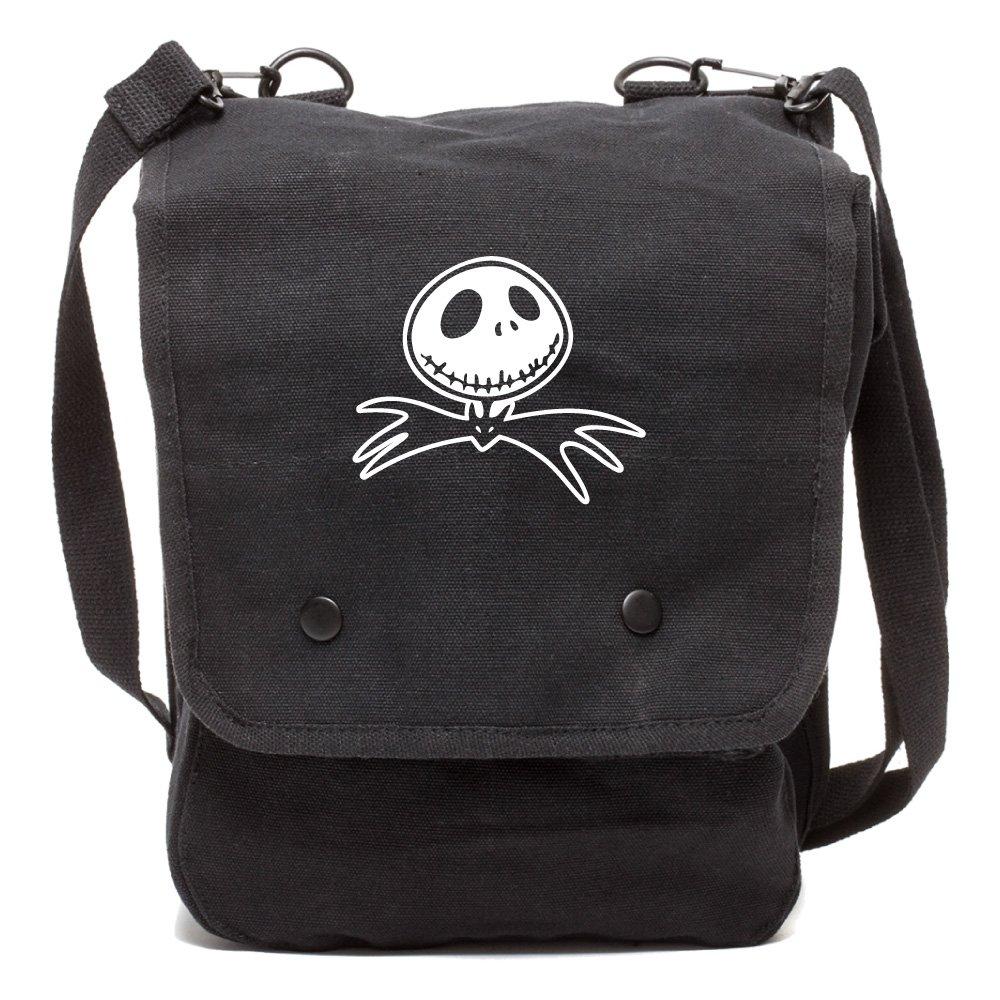Grab A Smile Jack Nightmare Before Christmas Bat Canvas Crossbody Travel Map Bag Case GSMP-BK5597-WH546