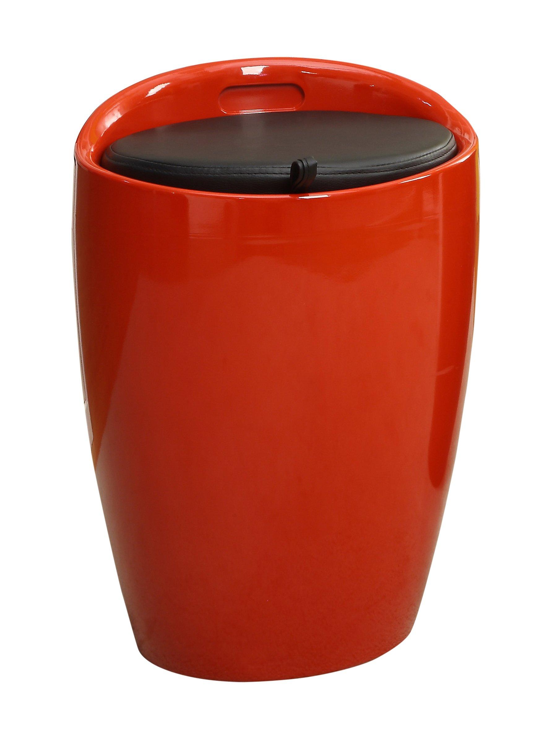 Furniture of America Kipper Glossy Storage Stool, Red