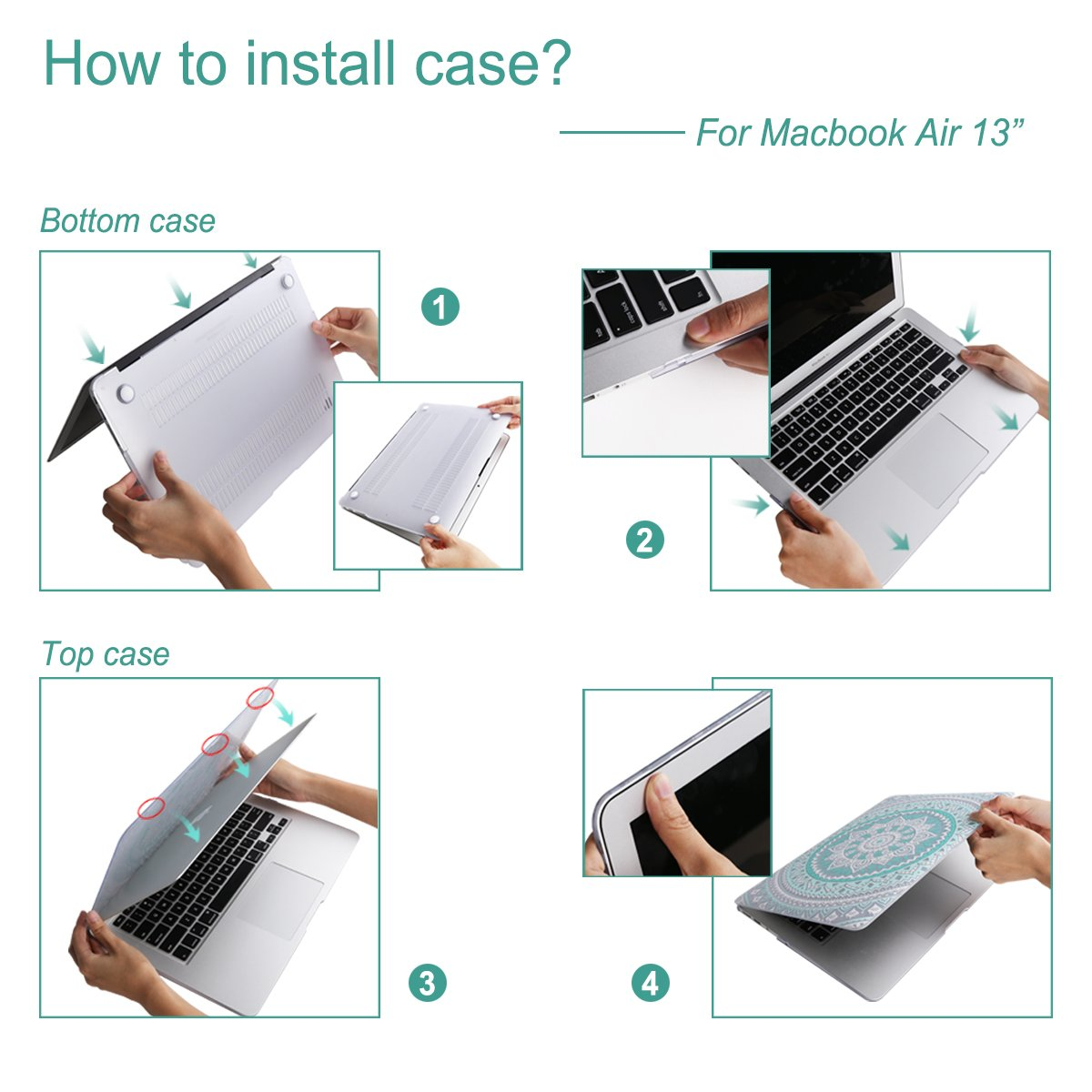 MacBook Air 13 inch Case,iCasso Hard Shell Plastic Protective Case Cover for Apple Laptop MacBook Air 13 Inch Model A1369/A1466 with Keyboard Cover (Serenity Blue)