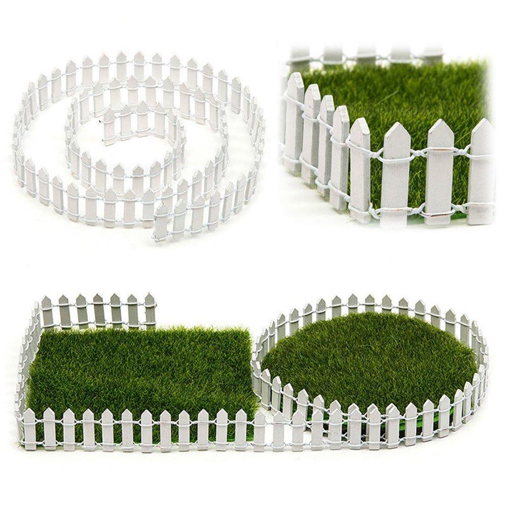 SUPEWOLD 1M Miniature Garden Fence,Miniature Wood Fence Fairy Garden Kit Terrarium Doll House DIY Accessories Decor(100X3cm,Coffee)