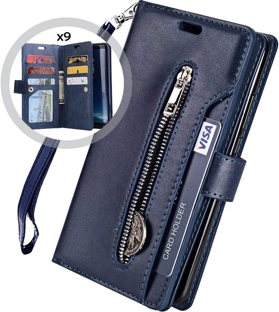 Saceebe kompatibel mit iphone 6 plus//6S plus H/ülle Leder Flip Case Brieftasche Glitzer Ledertasche Handyh/ülle Schutz Ledertasche mit Rei/ßverschluss 9 Steckplatz kratzfest Schutzh/ülle,dunkelblau