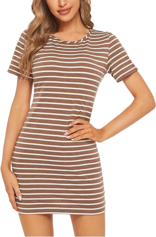 Floerns Women's Casual Short Sleeve Striped Bodycon T Shirt Short Mini Dress