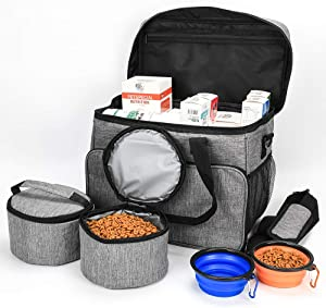 Dog Travel Bag, Airline Approved Organizer for Pet Supplies, More Demand Fulfilled by Multiple Pockets, Food Container Bag and Collapsible Silicone Bowl,Excellent Pet Travel Set for Dog and Cat