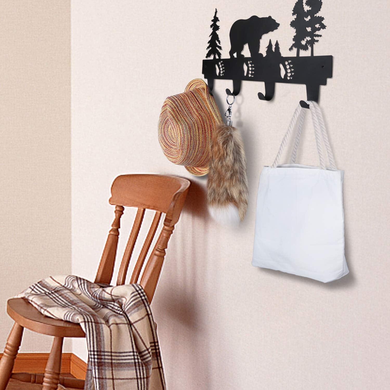 KangBazi Coat Hooks Wall Mounted Entryway Dog Leash and Key Holder Hat and Belt Hanger Bear Pattern Black Finish