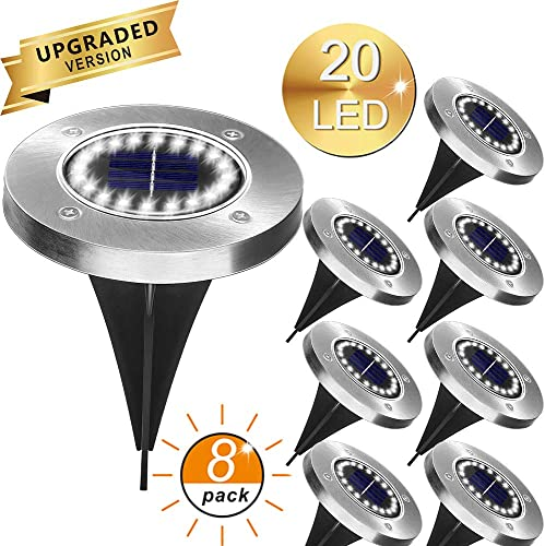 Solar Garden Lights, 20 LED Waterproof Solar Garden Disk Lights with Light Sensor, Landscaping Decoration for Pathway Driveways Patio Lawn and Yard 8 Pack