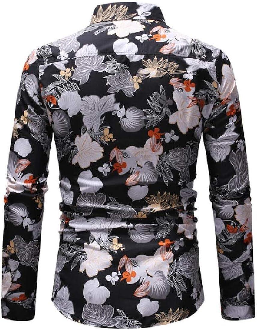 Ruhua Men Flat Collar Buttoned Printing Simple No Iron Shirts