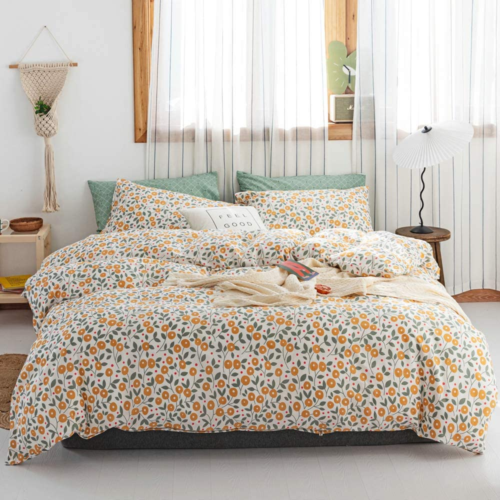 VClife Cottage Garden Floral Duvet Cover Sets Queen Yellow Flowers Pattern Bedding Sets with Zipper Closure Soft Girl Duvet Cover Sets for All Seasons