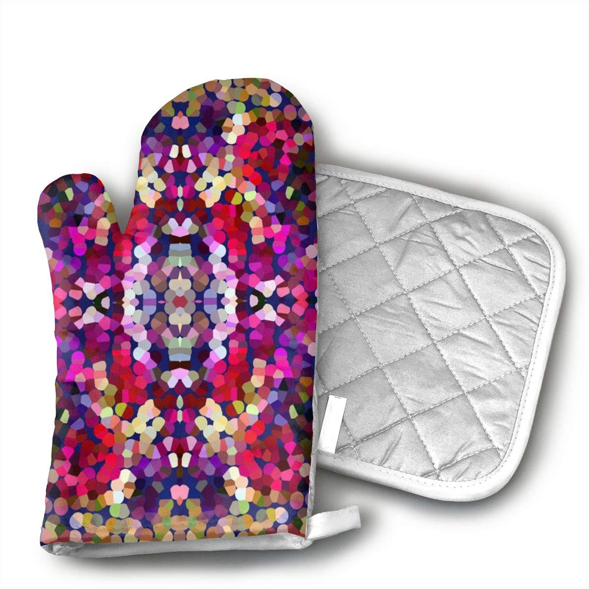 Klasl5 New Year's Eve Confetti Oven Mitts,Heat Resistant Oven Gloves,Non-Slip Cooking Gloves,Washable Kitchen Mitts for Baking, Barbecue.