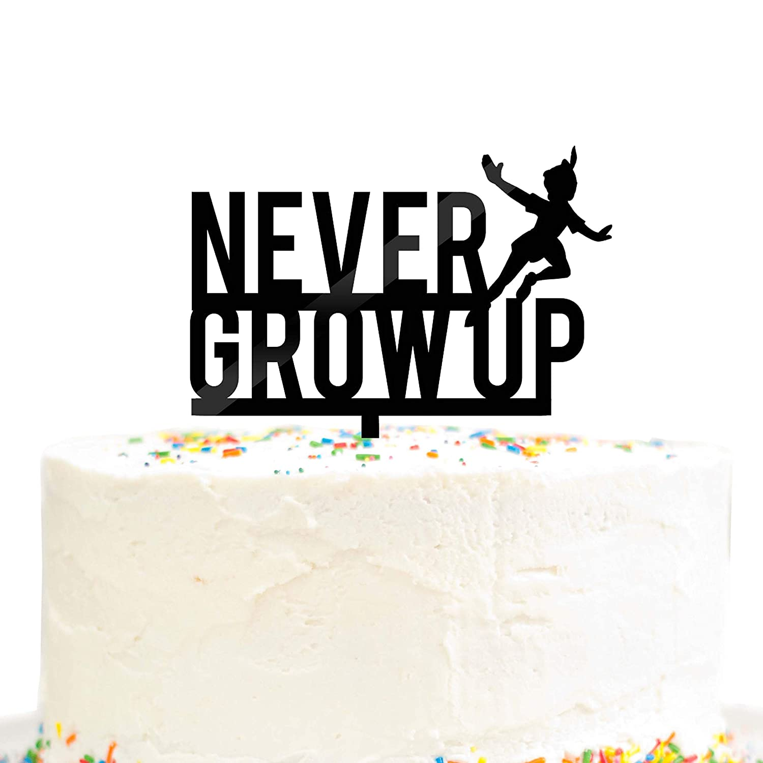 Never Grow Up Happy Birthday Party Cake Topper Black Acrylic Lost Boys Peter Pan Party Decoration