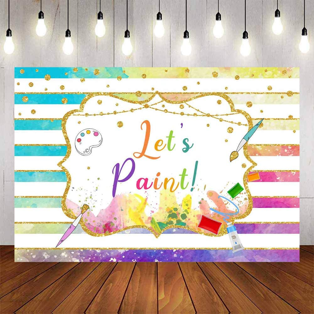 Avezano Let's Paint Backdrop 5x3ft Artist Birthday Backdrops Art Party Painting Splatter Photo Background Colorful Stripe Party Supplies Decor