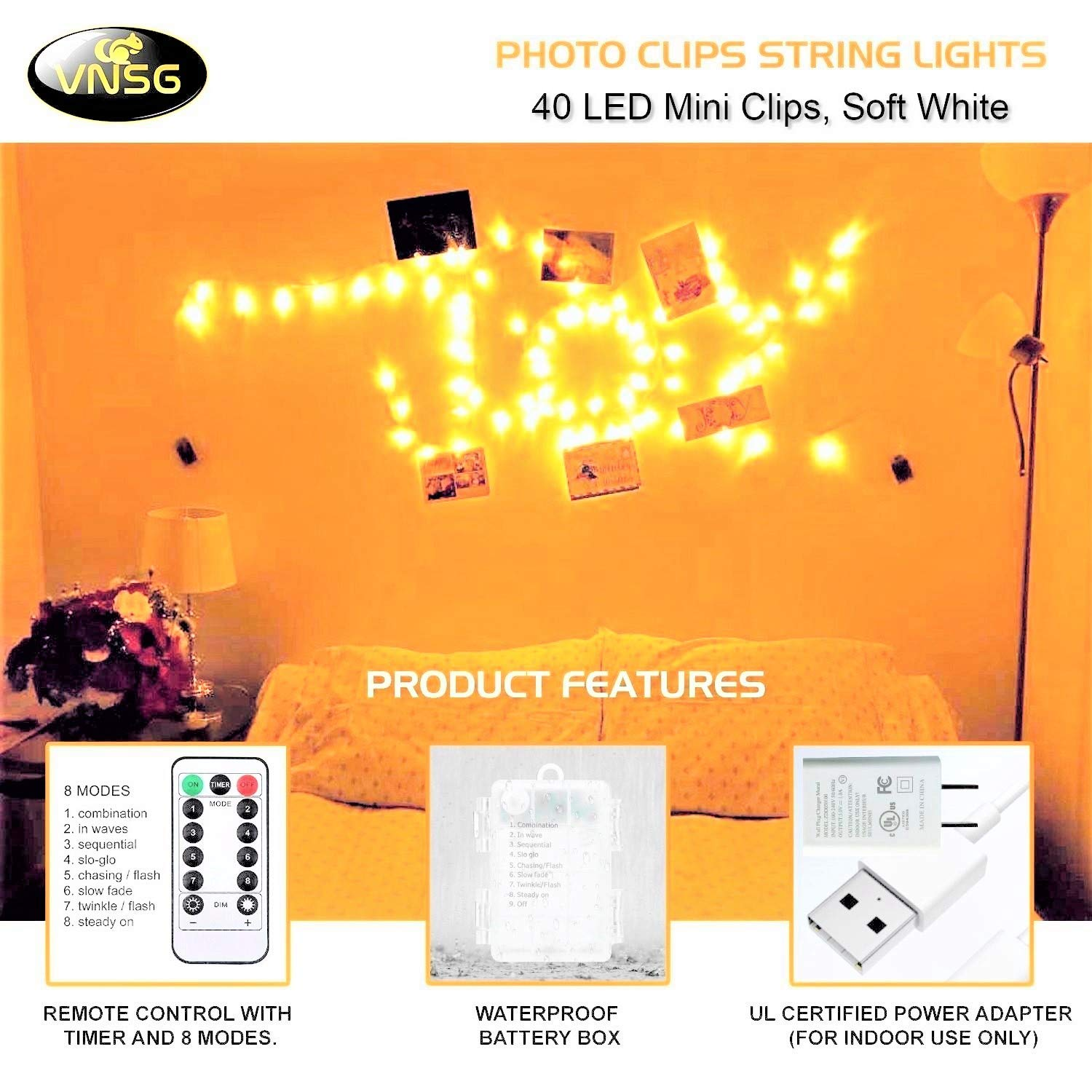 VNSG 40 LED Photo Clip String Lights for Bedroom Wall Decor┃Battery or Adapter┃Fairy Lights to Hang Pictures Christmas Cards, Wedding Photos┃20ft Soft White┃Photo Lights with Clips for Picture Hanging