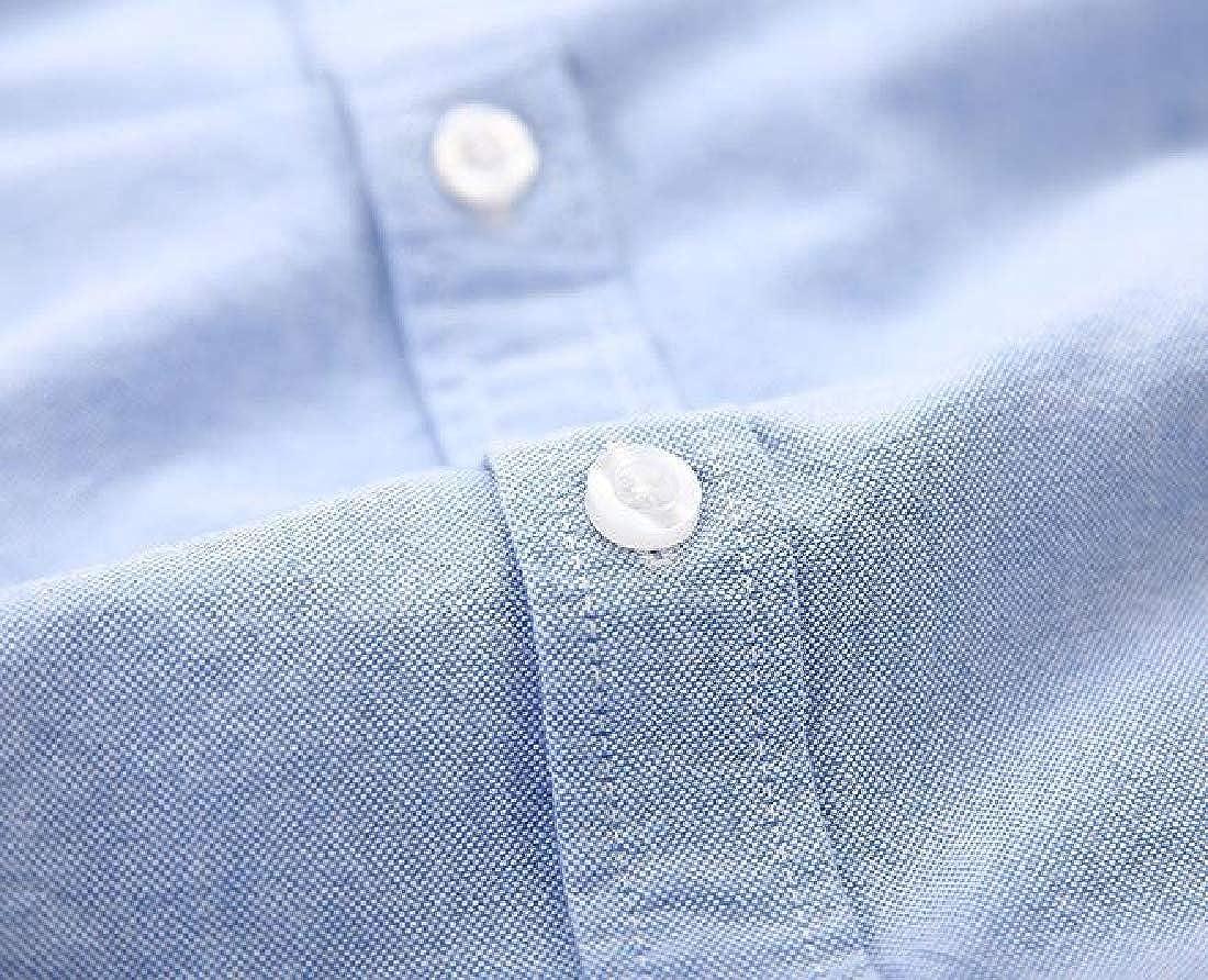 OTW Mens Summer Cotton Short Sleeve Slim Pure Color Button Down Dress Shirt