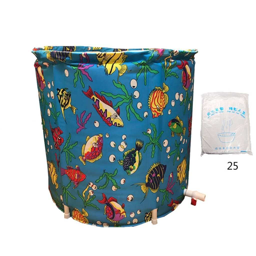 Large+Bag Global- Oxford cloth body thickening free inflatable disassembly folding bucket for indoor outdoor use (Size   Small+Lid+Bag)