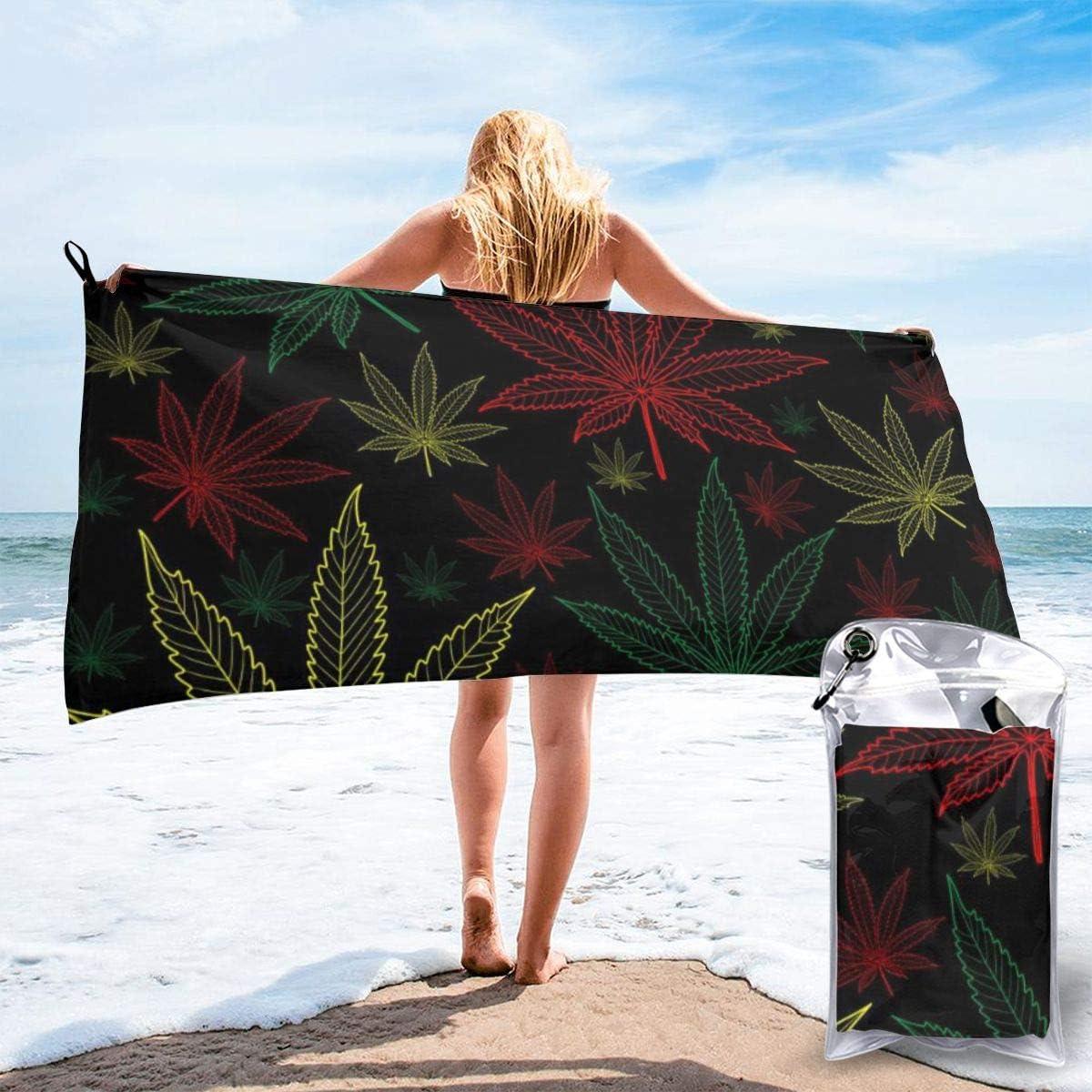 Nonebrand - Toalla de baño de microfibra de secado rápido para marihuana y cannabis de marihuana, tamaño grande, muy absorbente, perfecta para camping, gimnasio, playa, natación, senderismo y yoga