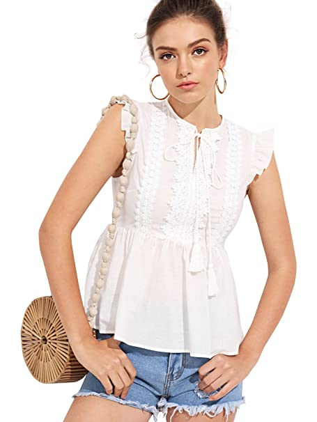 Romwe Women s Cute Ruffle Hem Tie Neck Lace Sleeveless Peplum Blouse Top  Beige X-Small
