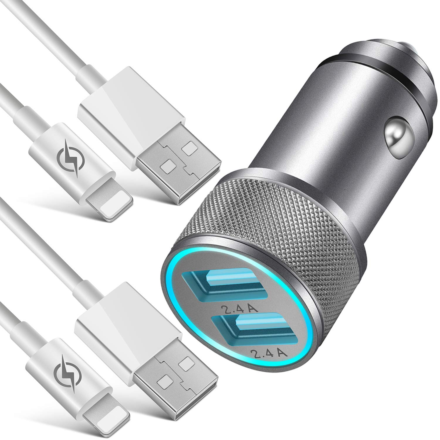 NNICE Car Charger, 2.4A AL-Alloy Dual USB Car Charger Adapter with 2-Pack 3 FT Charging Cable Sync Cord Compatible with iPhone 11 Pro Max/11 Pro/11/Xs/XR/X/8/7/6 Plus SE 5S, iPad Pro Air Mini and More by NNICE