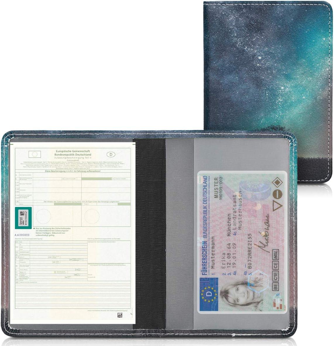 kwmobile Porte permis de Conduire Carte Grise avec Compartiments Cartes Passeport /Étui Portefeuille de Protection en Simili Cuir Taupe-Blanc-Bleu-Gris