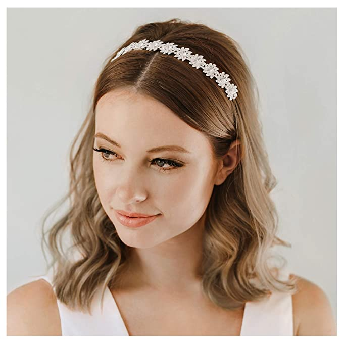 Crystal Pearl Flower Bridal Vine Headband Headpiece Tiara Wedding Accessory 764S