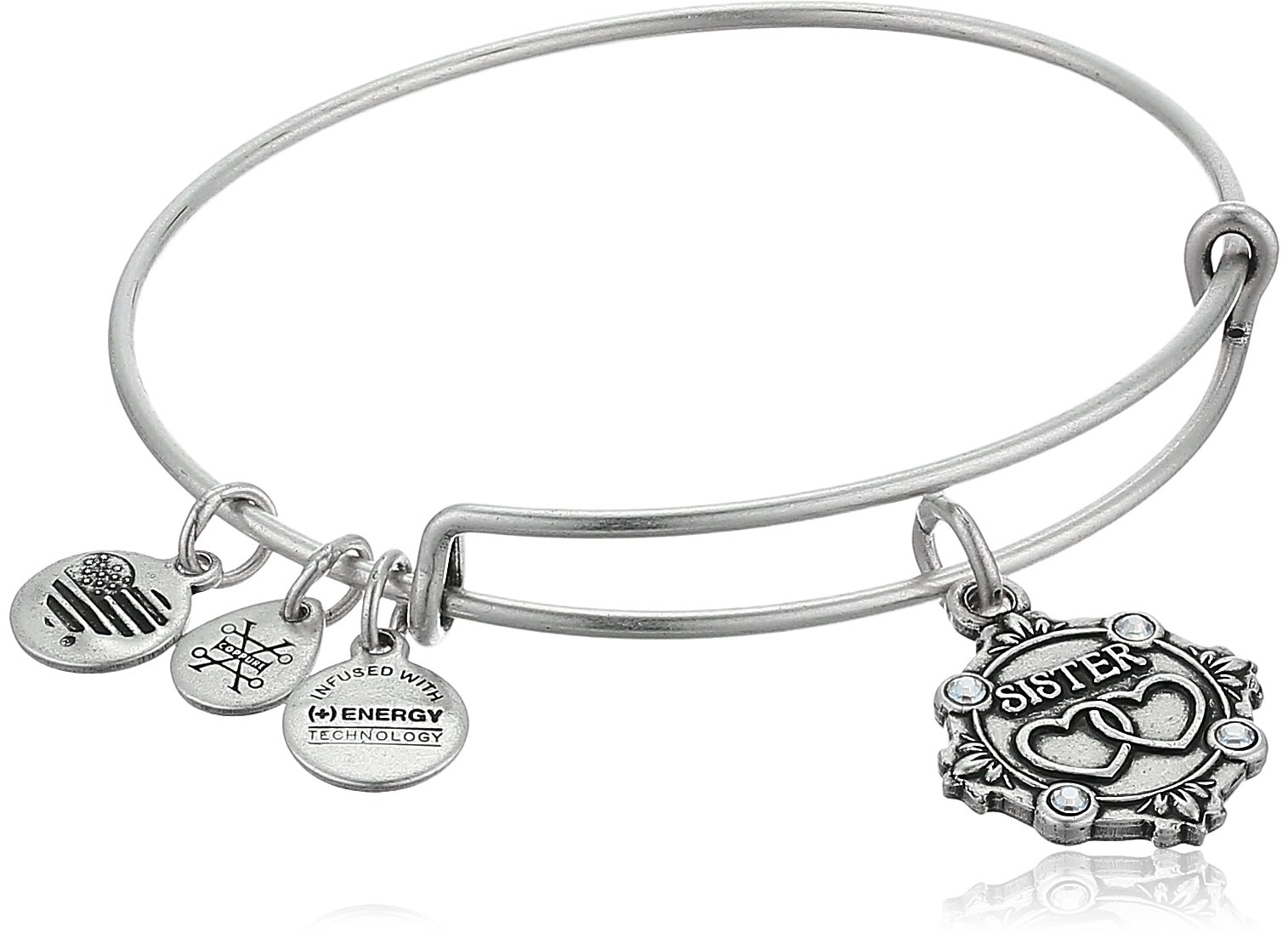 Alex and Ani Womens Because I Love you, Sister Charm Bangle Bracelet, Rafaelian Silver, Expandable