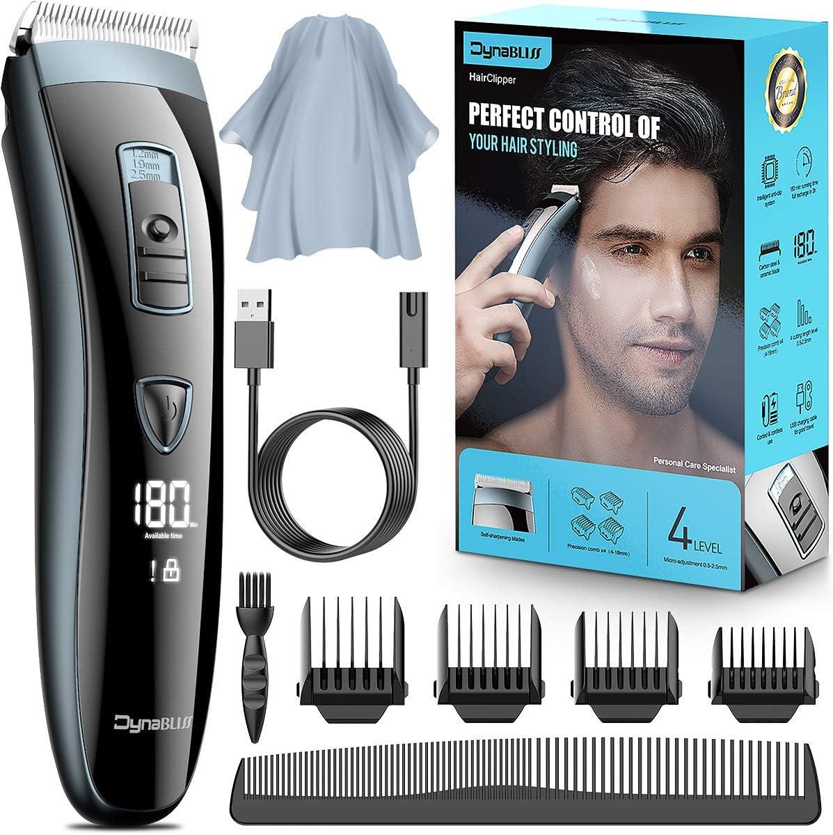 Maquina cortar pelo profesional, DynaBliss HG4100 maquina cortar pelo, kit para corte de cabello con carga USB, uso con cable o sin cable, ajuste de la longitud de corte
