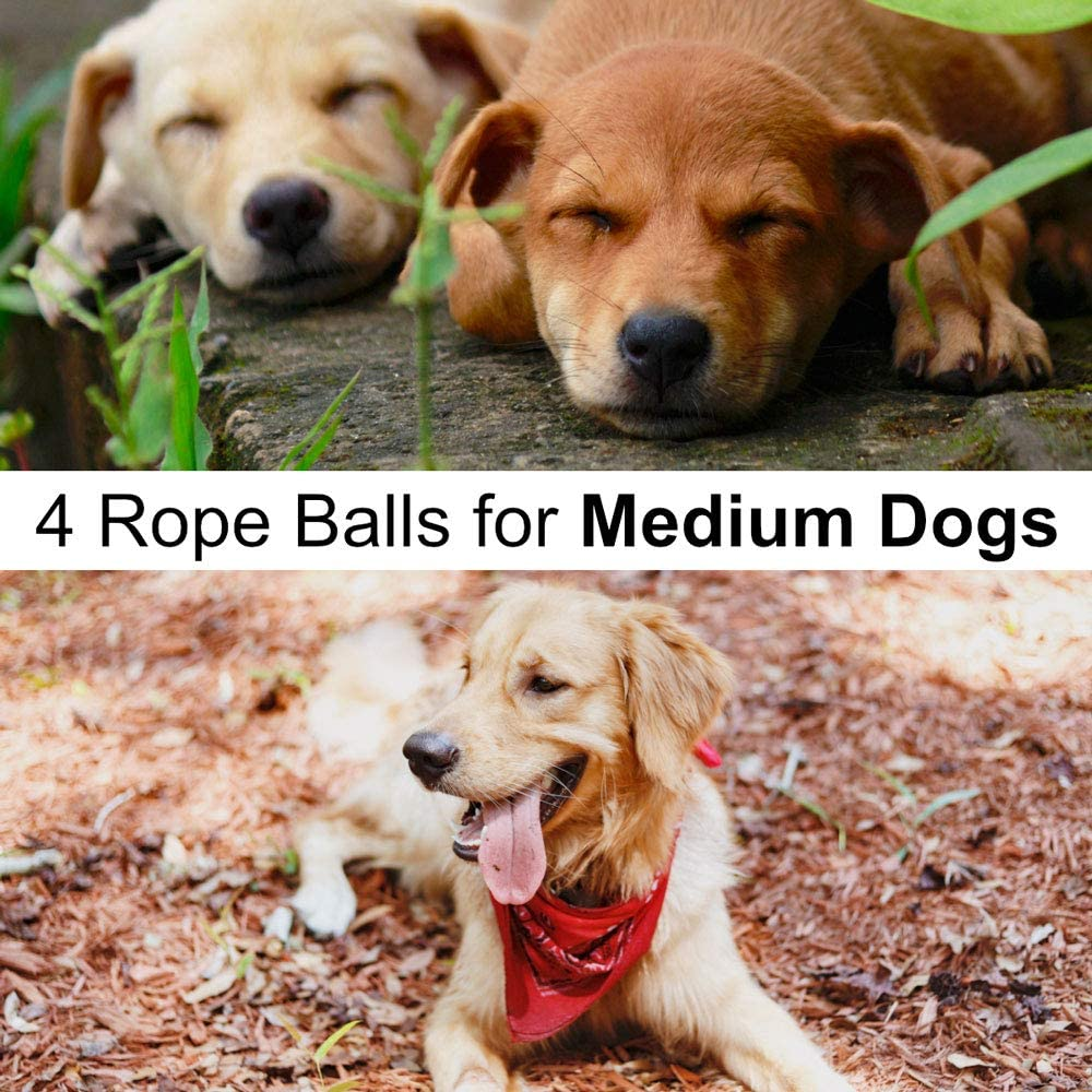Otterly Pets Dog Toys for Medium Breed Dogs Rope Dog Ball Aggressive Chewers Cotton Balls Outdoor and Indoor Play 4-Pack
