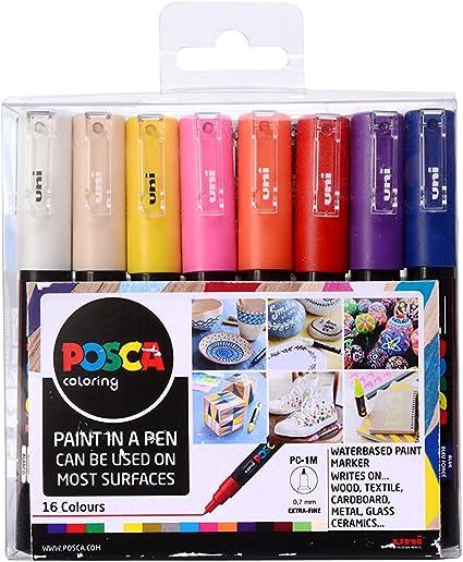 Posca PC-1M - Pack de 16 rotuladores de pintura al agua: Amazon.es: Oficina y papelería