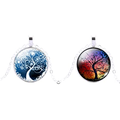 High quality life of tree womens glass time gem pendant chain high quality life of tree womens glass time gem pendant chain necklace jewelry 2 pack aloadofball Images