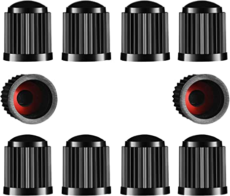 NWQEWDG Car Valve Caps Plastic Car Stem Caps Tyre Valve Dust Caps Replacement for Car Black Van Quad ATV Bike Trucks 8 pcs Motorbike