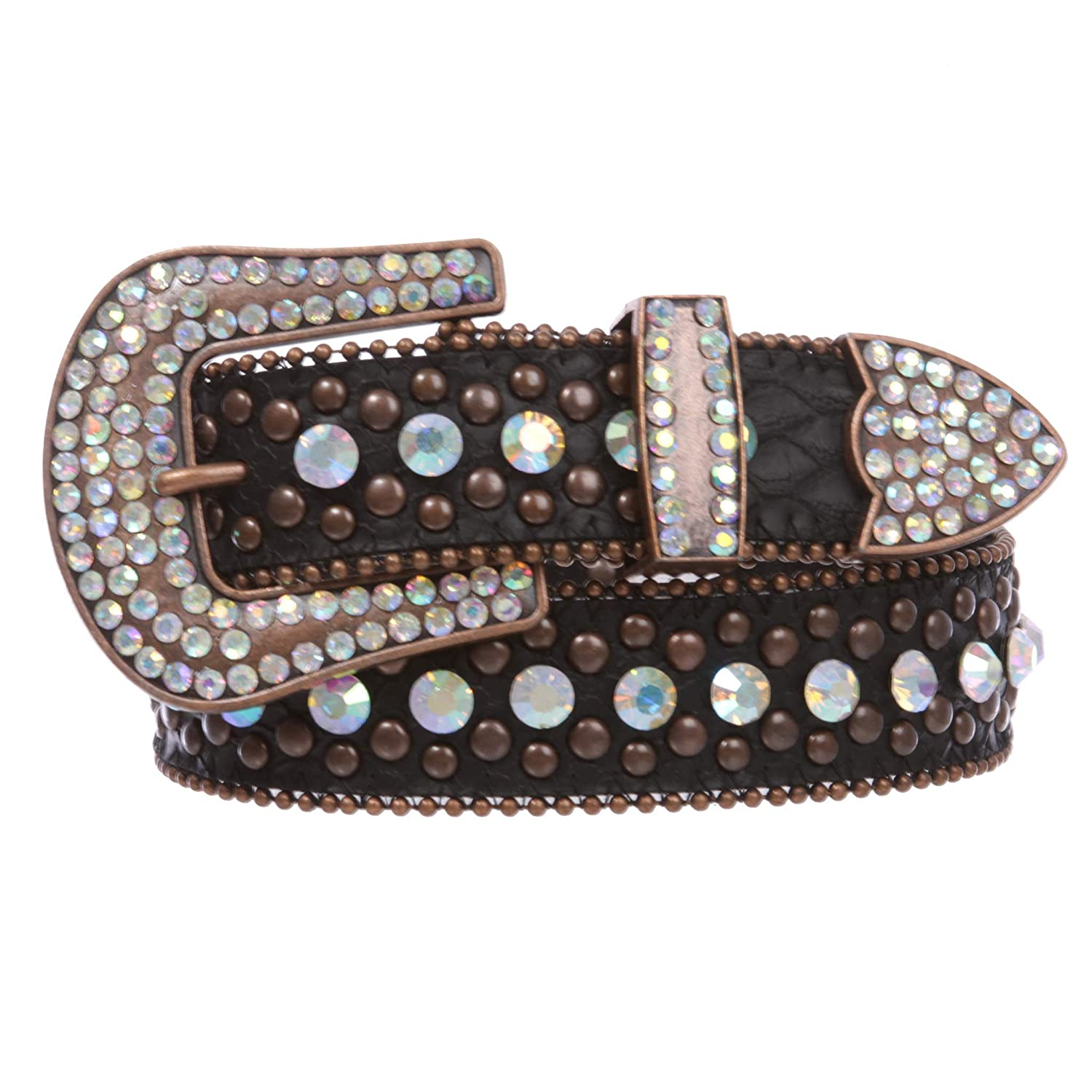 Bronze Women's Western Cowgirl Alligator Rhinestone Studded Leather Belt, Brown   m l 34 37