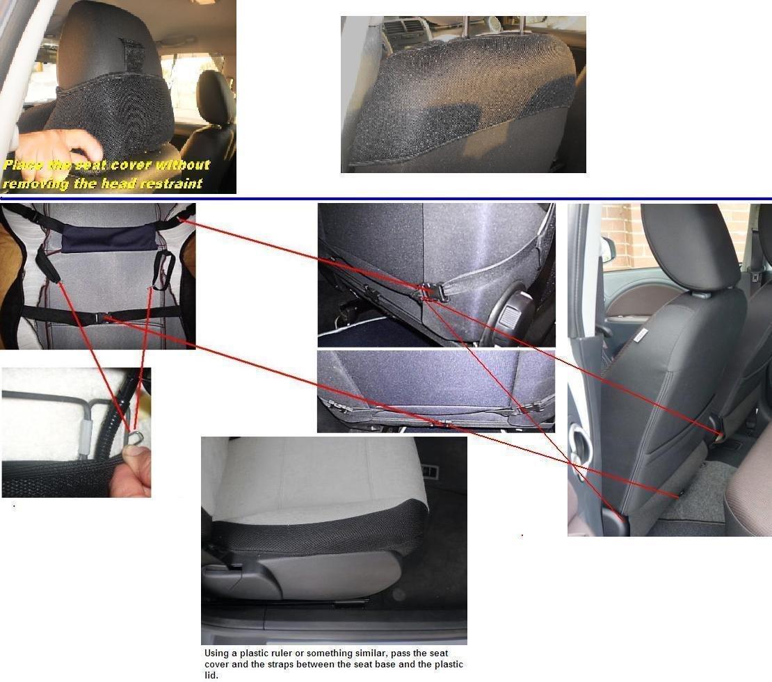 Seiten vorne Zwei Autositzbez/üge ma/ßgefertigt /& Synthetik Beige. Mitte TOPCAR ATHENS 1+1 Kunstleder