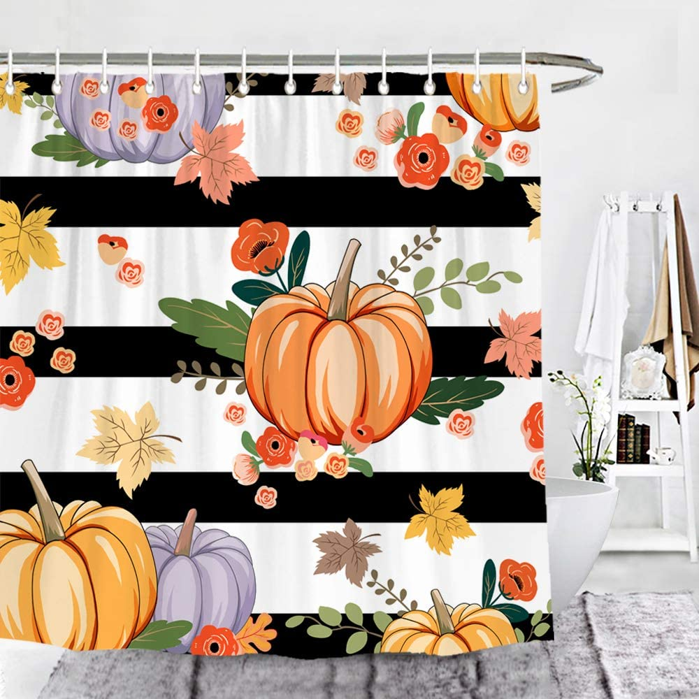 Wencal Pumpkin Shower Curtain Fall Autumn Maple Leaves Black and White Striped Bathroom Decor with Hooks 72 x 72 Inches